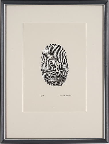 Dan wolgers, screenprint, signed dan wolgers, dated -01 and numbered 37/100 in pencil.