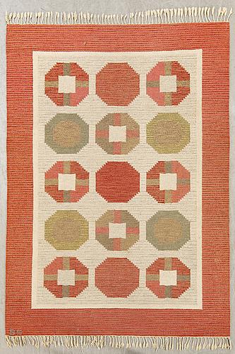 Birgitta sÖdergren, a signed flat weave carpet ca 240 x 160 cm.