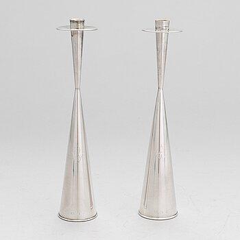 TAPIO WIRKKALA, A pair of silver candlesticks, TW 189, marked TW, Kultakeskus, Hämeenlinna 1964. Design year 1957.