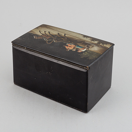 A lacquered lidded box, russia, 1870s.
