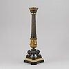 Bordslampfot, förgylld och patinerad brons, empirestil, frankrike, sent 1800-tal.
