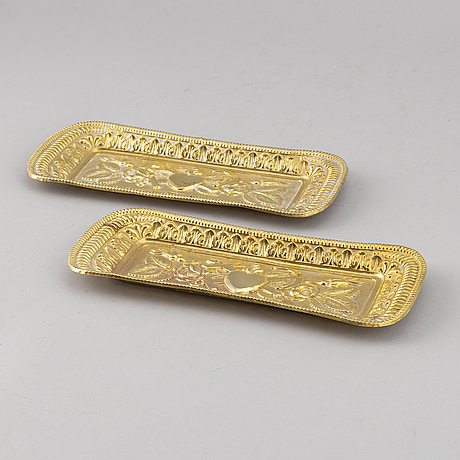 2 empire tombak trays, sweden early 19thc.