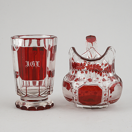A bohemian glass jug and glass, 19th century.