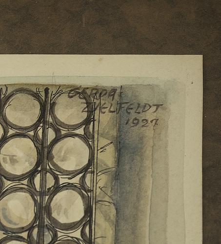 Gerda zielfeldt, akvarell och tusch, signerad gerda zielfeldt och daterad 1927.