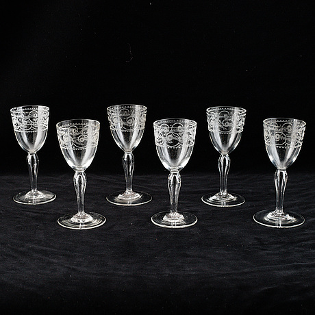 Six empire glasses, first half of the 19th century.