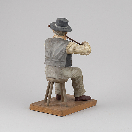 Herman rosell, skulptur, snidat och bemålat trä.