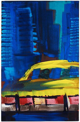 "Rainer fetting, ""yellow cab in alleyway""."
