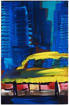 """211. Rainer Fetting, """"Yellow Cab in Alleyway""""."""