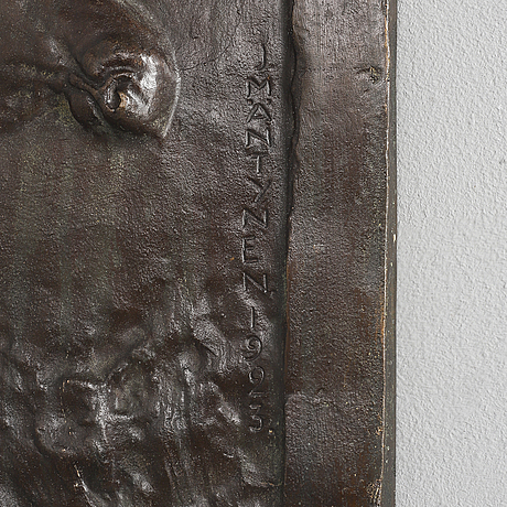 Jussi mÄntynen, relief, broze, brown patina, signed j.mäntynen and dated 1923.