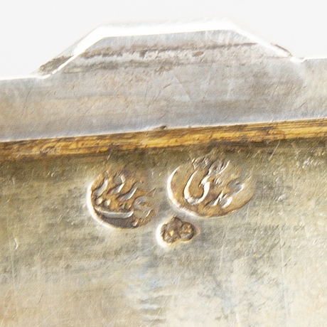 A silver box isfahan, bought in teheran 1947, silver marks.