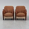A pair of 1930's easy chairs.