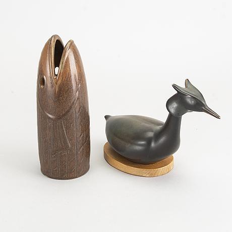 Gunnar nylund, figuriner 2 st rörstrand glaserat stengods.