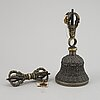 A tibetan bronze bell/ghanta and vajra, 19th century.