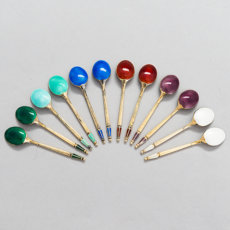 A set of 12 espresso spoons in gilt sterling silver and enamel, mark of a. michelsen, denmark.