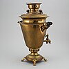 A russian brass samovar, early 20th century.