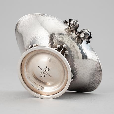 Johan rohde, a model 235a sterling silver salt cellar, georg jensen, denmark.