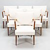 A set of six 1950's open arm chairs for oy paul boman ab.