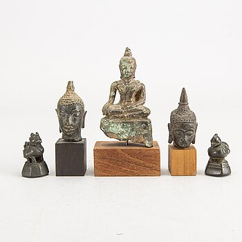 A set of three divinities and two opium weights Thailand/Burma 18th/19th century bronze.