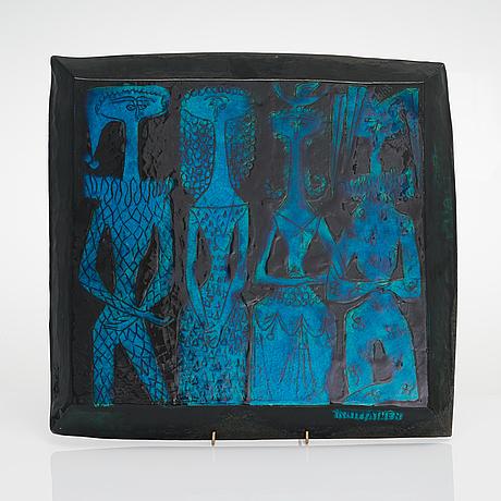 Birger kaipiainen, a stoneware relief signed kaipiainen.