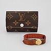 Louis vuitton, a key case and a bracelet.