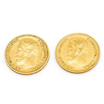 Two Russian 5 Rubel 21K gold coins, Nicolas II, 1898.