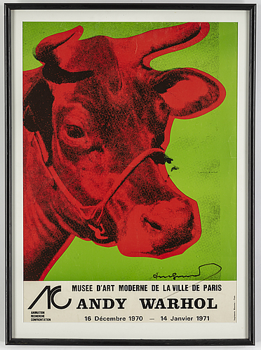 Andy warhol, a 'cow' exhibition poster, signed.