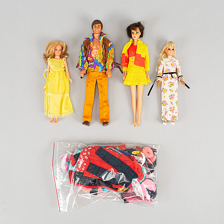 Four barbiedolls with accessories, mattel, 1960's/70's.