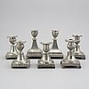 7 pewter candlesticks, 19th century. (2+2+2+1).
