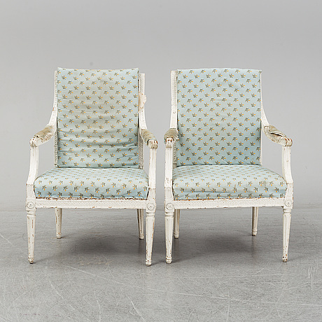 A pair of late 18th century gustavian armchairs, stockholm.