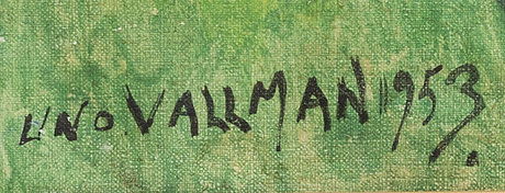 Uno vallman, oil on canvas signed and dated 1953.