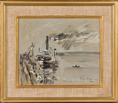 Helge dahlman, oil on canvas, laid on board, signed and dated -78.