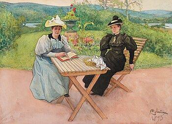 """393. Carl Larsson, """"Fruarna Schröder och Nordin""""."""