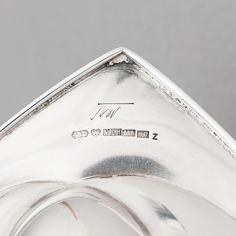 Tapio wirkkala, plate 'tw 100' in silver (916), marked tw, kultakeskus oy, hämeenlinna 1962.