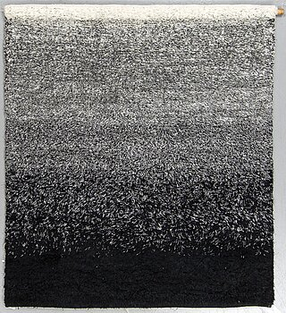 """Lena Bergström, Wall hanging, """"af Norrland"""", knotted pile in flax, ca 165-166 x 146,5 cm, woven by Handarbetets Vänner."""