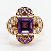 """An 18k gold ring """"catherine jagellion"""" with amethysts and diamonds ca. 0.37 ct in total. ofelia jewelry, helsinki 1998."""