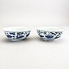 A pair of blue and white bowls, ming dynasty (1368-1644).