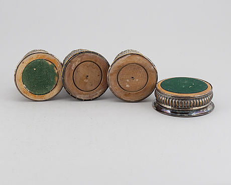 Four silver plated coasters, england, early 20th century.