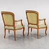 A pair of french 18th century louis xv armchairs.