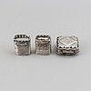 Three dutch silver snuff boxes, 19th century.