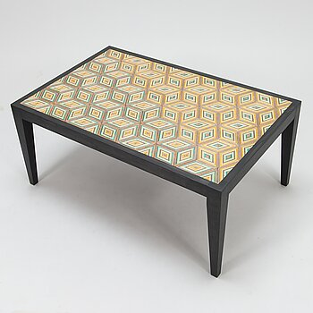 A 'Diagonal Box' coffee table, signed.