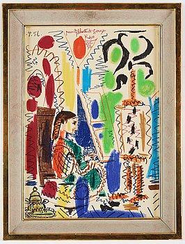 Pablo Picasso, lithograph in colour.
