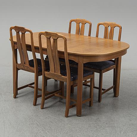 A five-piece walnut 'ambassadör' dining suite by carl malmsten.