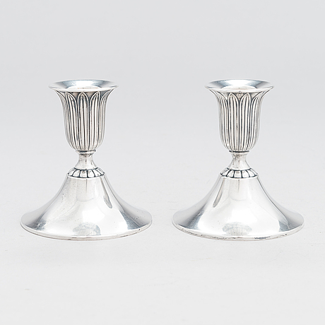 A pair of silver candlesticks, kultakeskus, hämeenlinna 1936.