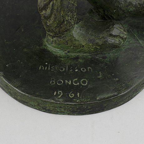 Nils olsson, sculpture. bronze. signed. dated. h:22.