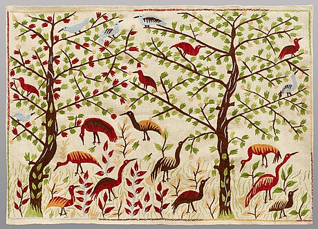 A rug embroided flat weave, ca 171 x 121 cm.