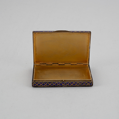 An austrian-hungary 20th century silver-gilt and enameld box, unidentified makers mark.
