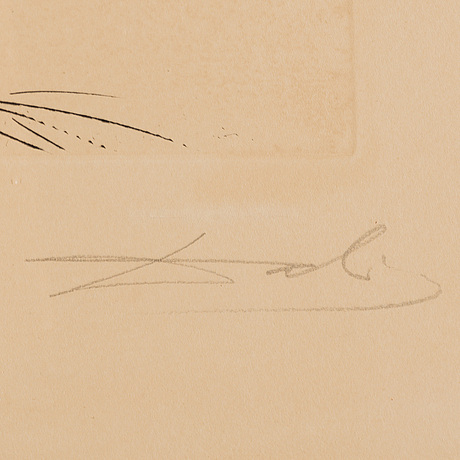 Salvador dali, lithograph with drypoint, signed and numbered cxxxi/cl.