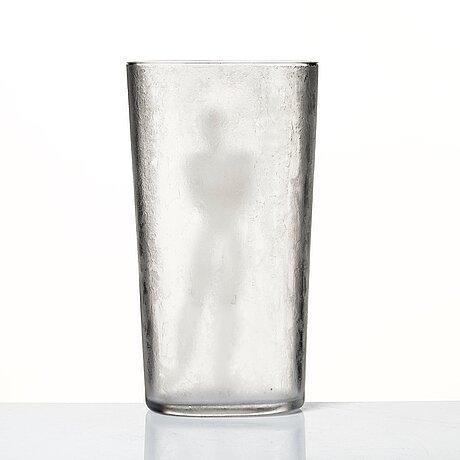 """Vicke lindstrand, a cut, engraved and """"iced"""" acid etched glass vase, orrefors 1937, model la 1845."""