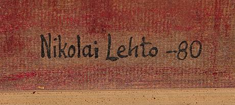 Nikolai lehto, oil on board, signed and dated-80.