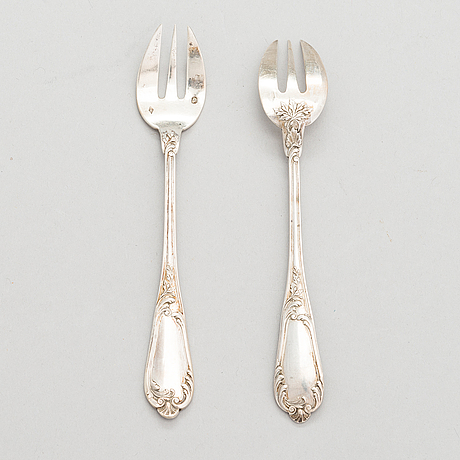 A set of twelve silver oyster forks, mark of henri soufflot, 1884-1910. french export mark.